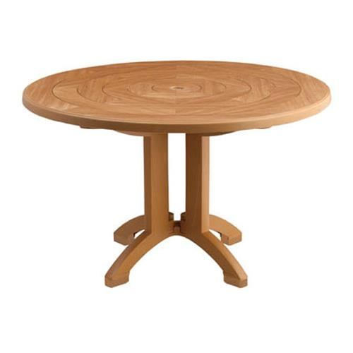 Grosfillex us921208 teakwood 48 in atlantis round for Table exterieur grosfillex