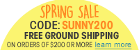 FreeGround Shipping when you spen $200 or more SUNNY200